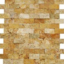 1'' x 2'' Travertine Splitface Tile in Golden Sienna