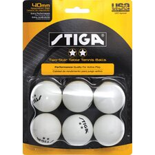 Two-Star White Table Tennis Ball (Pack of 6) (Set of 2)