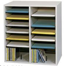 Small Wood Adjustable-Compartment Literature Organizer