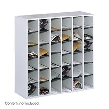 Wood Mail Sorter with Adjustable Dividers, 36 Compartments