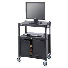 Adjustable Mobile AV Cart with Locking Cabinet