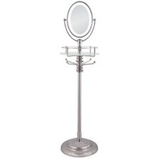 Cordless LED Lighted Adjustable Height Floor Stand Mirror