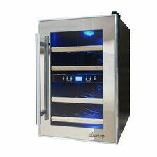 Mirrored 12 Bottle Dual Zone Freestanding Wine Refrigerator