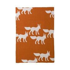 Foxes Orange Graphic Knit Blanket