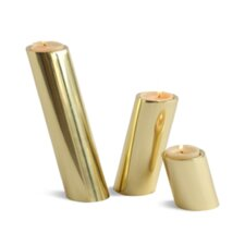 3 Piece Slanted Brass Candle Holder Set