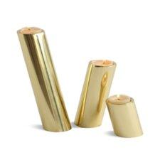 3 Piece Slanted Brass Candle Holder Set