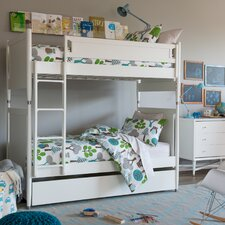 Mid-Century French White Bunk Bed with Trundle