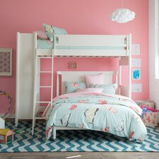Mid-Century French White Loft Bed with Full Bed