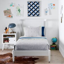 Mid-Century French White Twin Bed