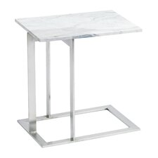 Dimas End Table in White & Silver