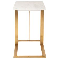 Dimas End Table in White & Gold