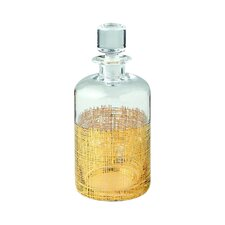 Gold Crosshatch Cylinder Decanter
