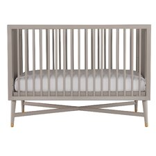 Mid-Century Convertible Crib in French Grey