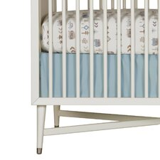 Solid Blue Canvas Crib Skirt