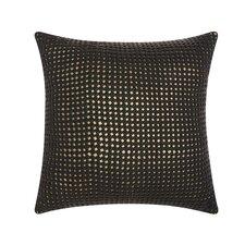 Woven Metallic Leather Throw Pillow