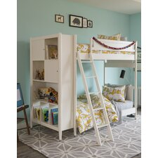Mid-Century Youth White Bunk Bed with Trundle