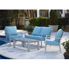 Outdoor Brushed Aluminum Patio Furniture 4 Piece Deep Seating Group with Cushion
