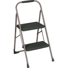 2-Step Steel Big Step Folding Step Stool with 200 lb. Load Capacity with Rubber Hand Grip