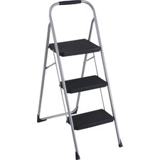 3-Step Steel Big Folding Step Stool with 225 lb. Load Capacity with Rubber Hand Grip