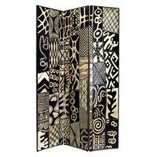 "72"" x 48"" African Motif 3 Panel Room Divider"