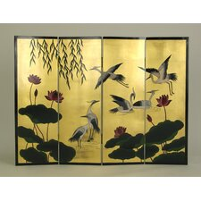 Crane and Lotus Flower Room Divider