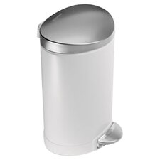 1.6-Gal. Step Trash Can in White & Steel