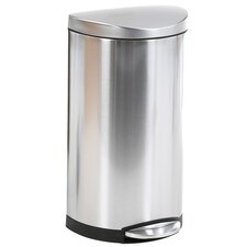7.9 Gal Semi Round Step Trash Can in Stainless Steel