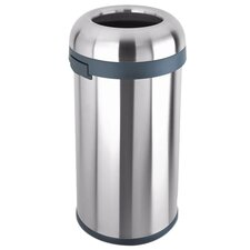 15.9 Gallon Bullet Open Trash Can in Stainless Steel