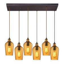 Hammered Glass 6 Light Kitchen Island Pendant