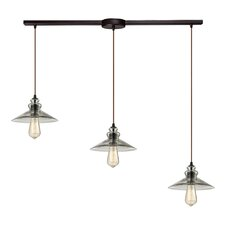 Hammered Glass 3 Light Kitchen Island Pendant