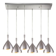 Spun Aluminum 6 Light Kitchen Island Pendant