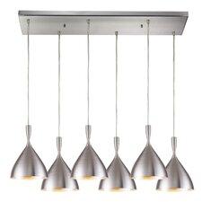 Spun Aluminum 6 Light Kitchen Island Pendant