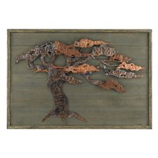 'Wood and Metal Tree' Framed Graphic Art Plaque