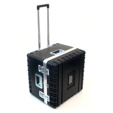 Heavy-Duty ATA Case with Wheels and Telescoping Handle in Black: 21.13 x 21 x 17.25