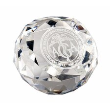 Diamond Cut Glass Award Paperweight
