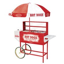 Vintage Carnival Hot Dog Cart with Umbrella