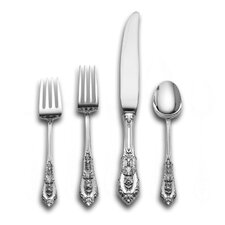 Sterling Silver Rose Point 4 Piece Dinner Flatware Set
