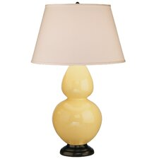 Double Gourd Table Lamp in Butter Glazed Ceramic with Deep Patina Bronze Base & Pearl Dupioni Fabric Shade