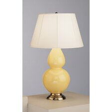 Double Gourd Table Lamp in Butter Glazed Ceramic with Antique Silver Base & Ivory Silk Stretched Fabric Shade