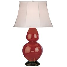 Double Gourd Table Lamp in Oxblood Glazed Ceramic with Deep Patina Bronze Base & Ivory Silk Stretched Fabric Shade