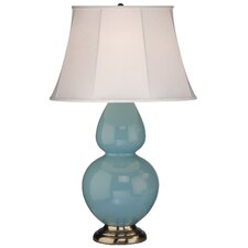 Double Gourd Table Lamp in Egg Blue Glazed Ceramic with Antique Silver Base & Ivory Silk Stretched Fabric Shade