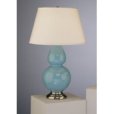 Double Gourd Table Lamp in Egg Blue Glazed Ceramic with Antique Silver Base & Pearl Dupioni Fabric Shade