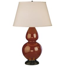 Double Gourd Table Lamp in Cinnamon Glazed Ceramic with Deep Patina Bronze Base & Pearl Dupioni Fabric Shade
