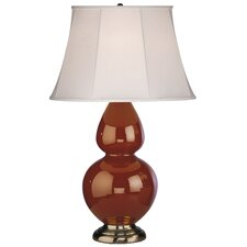 Double Gourd Table Lamp in Cinnamon Glazed Ceramic with Antique Silver Base & Ivory Silk Empire Shade