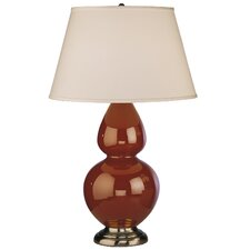 Double Gourd Table Lamp in Cinnamon Glazed Ceramic with Antique Silver Base & Pearl Dupioni Fabric Shade
