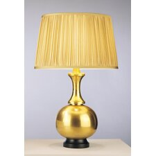 Harriet Table Lamp in Antique Natural Brass with Gold Silk Fabric Shade