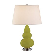 Small Triple Gourd Accent Lamp in Apple with Silver Base