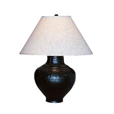 Foundry  Table Lamp in Antique Rust with Brussels Linen Shade