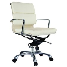 Murphy Low-Back Leatherette Padded Office Chair with Chrome Base