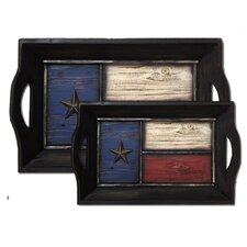 2 Piece Texas Flag Tray Set (Set of 2)